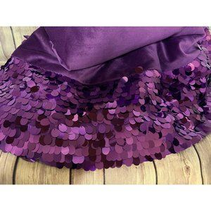 CHRISTMAS TREE SKIRT Purple Velvet  6″  Paillettes